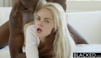 Curvy blonde with a trimmed bush gets choked and fucked balls deep