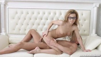 Hot blonde poses and gets a thick pole to chew on and bang her ass