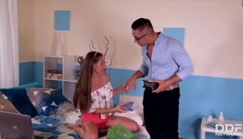 Stacked babes Charley Chase and Kayme Kai take turns on a large dick