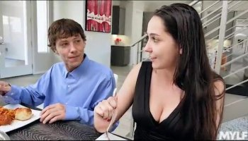 Sexy slender brunette with hot legs feeds her hungry ass a black dick