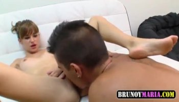 Sultry brunette Jenna Moretti has a long dick making her pussy all wet
