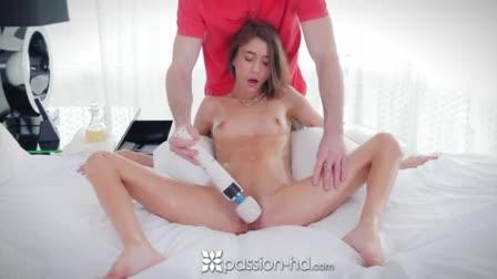 Cute ebony girl Anya Ivy sucks and fucks gloryhole white cock until creampie